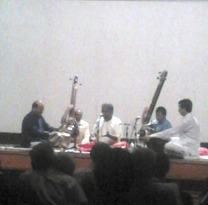 Pt. Venkatesh Kumar (center) supported on Tabla by Ravindra Yavagal and on Harmonium by R. Katoti.Apologies for the blurry picture. I could afford only this picture with my mobile.
